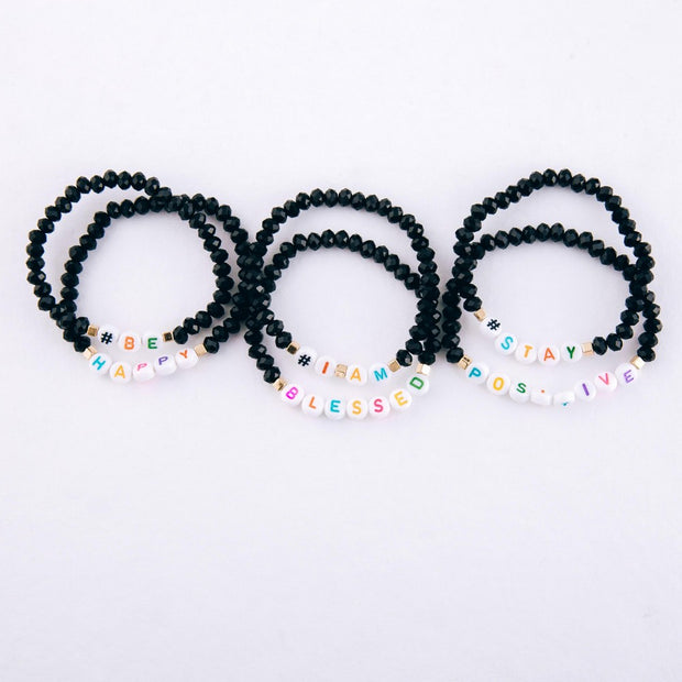 Black faceted beaded # Bracelet Set