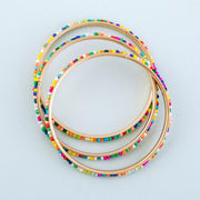Multicolor seed beaded stackable bangle bracelet set