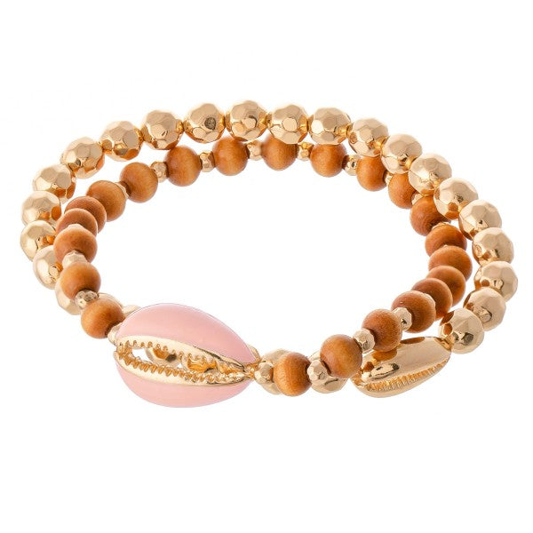 Puka Shell Wood Bracelet