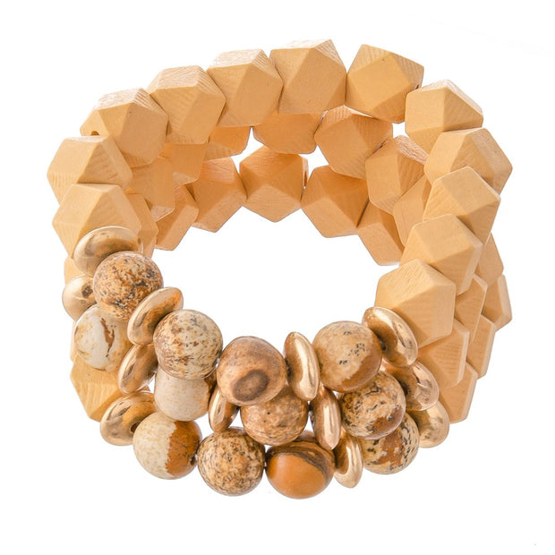 Wood Beaded Stretch Bracelet