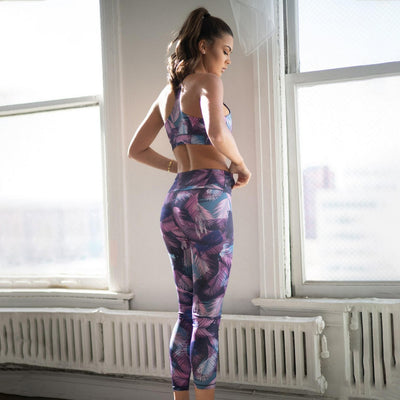 High Rise Feather Print Workout Leggings