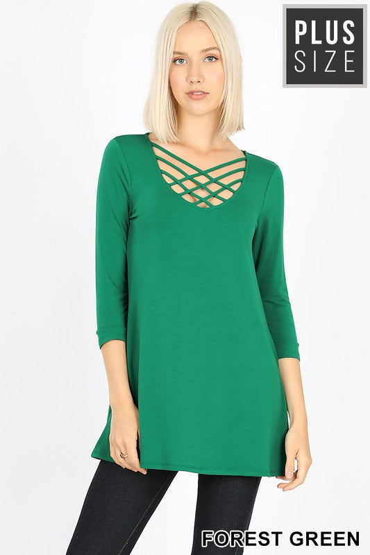 Plus Size Lattice 3/4 Sleeve Top ~Forest Green~
