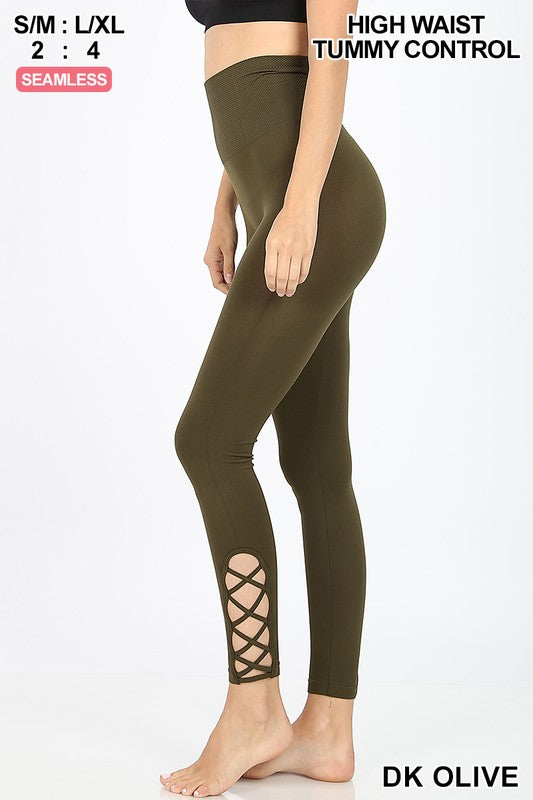 Love Me Tummy Control Lattice Leggings ~Dark Olive~