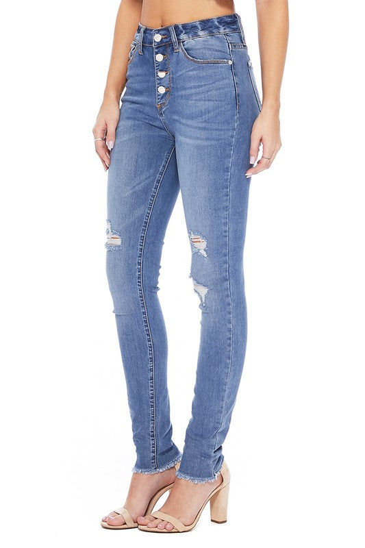 Isabella High Waist Button Fly Judy Blue Skinny Jean