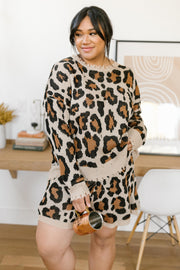 Chasing Sleep Lounge Set Top in Leopard