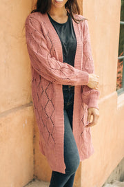 Choose Me Chunky Cardigan in Rose