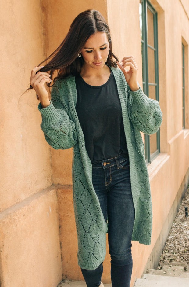 Choose Me Chunky Cardigan in Sea Green