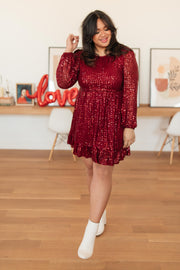 Mia Sequin Dress in Wine