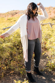 Clarissa Striped Cardigan in Mocha
