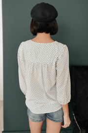 Embroidery and Dots Blouse in Ivory *