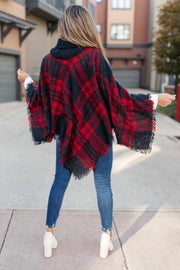 Feelin' The Fringe Plaid Poncho
