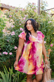 Flutter Sleeve Tie Dye Dress In Fuchsia