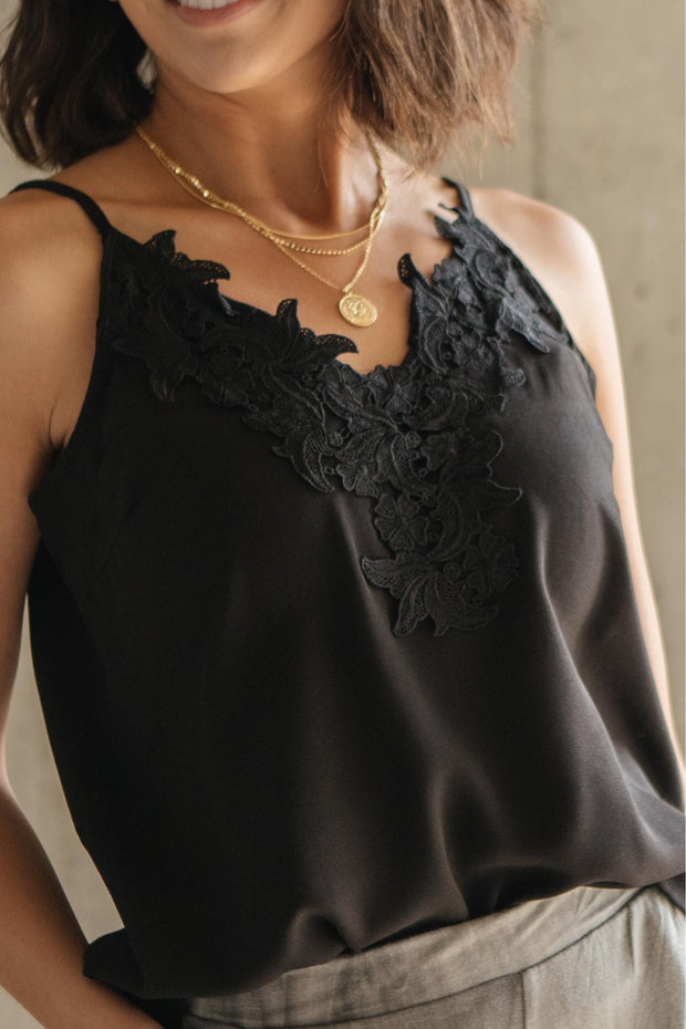 Lace Applique Camisole In Black