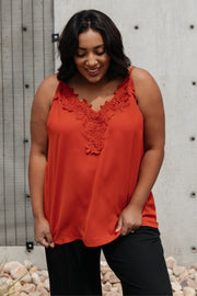 Lace Applique Camisole In Burnt Orange