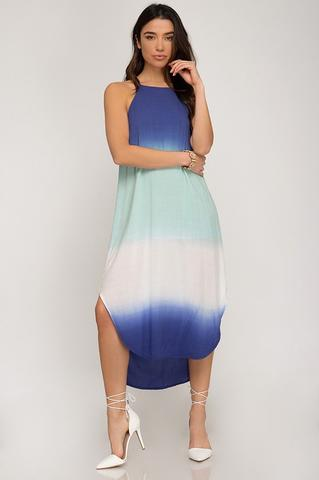 Ombre Dyed Woven Midi Cami Dress with Round Hem