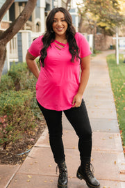 Side Strap Tee in Hot Pink