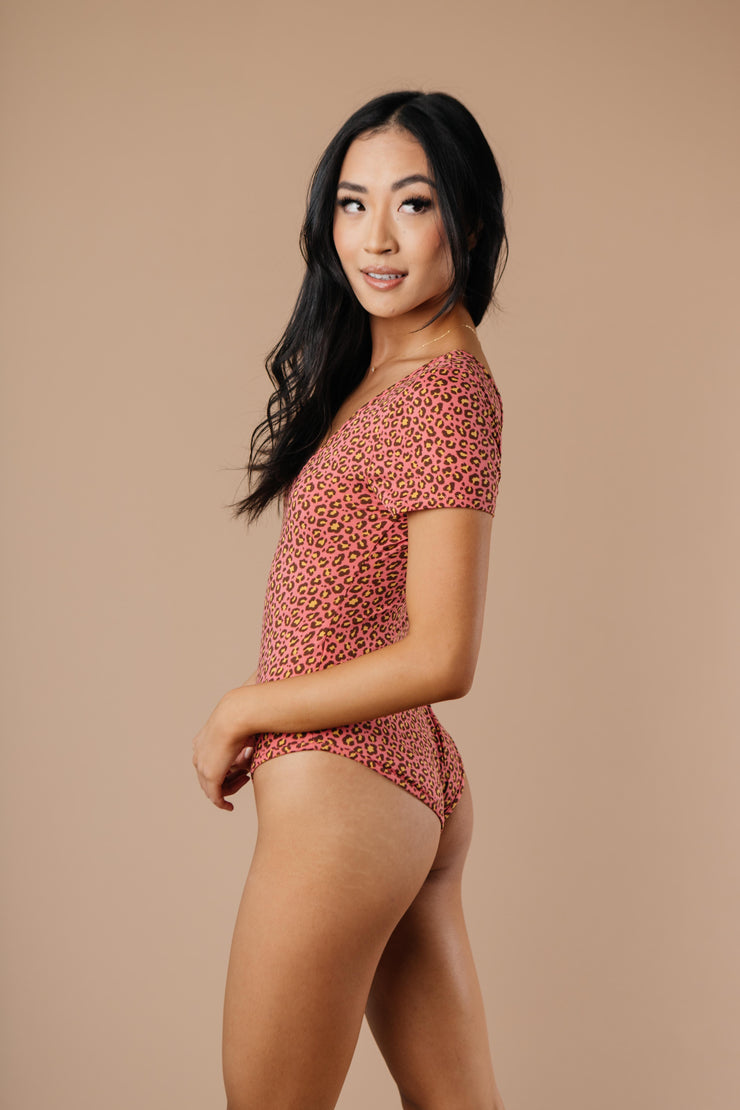 So Sultry Spotted Bodysuit In Rose