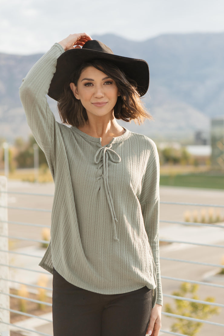 Straight Laced Ribbed Top In Sage