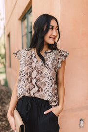 Take A Break Snakeskin Blouse