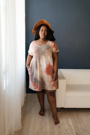 Tie Dye T-Shirt Dress In Mocha