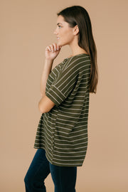 Tow The Line Striped Tee In Olive