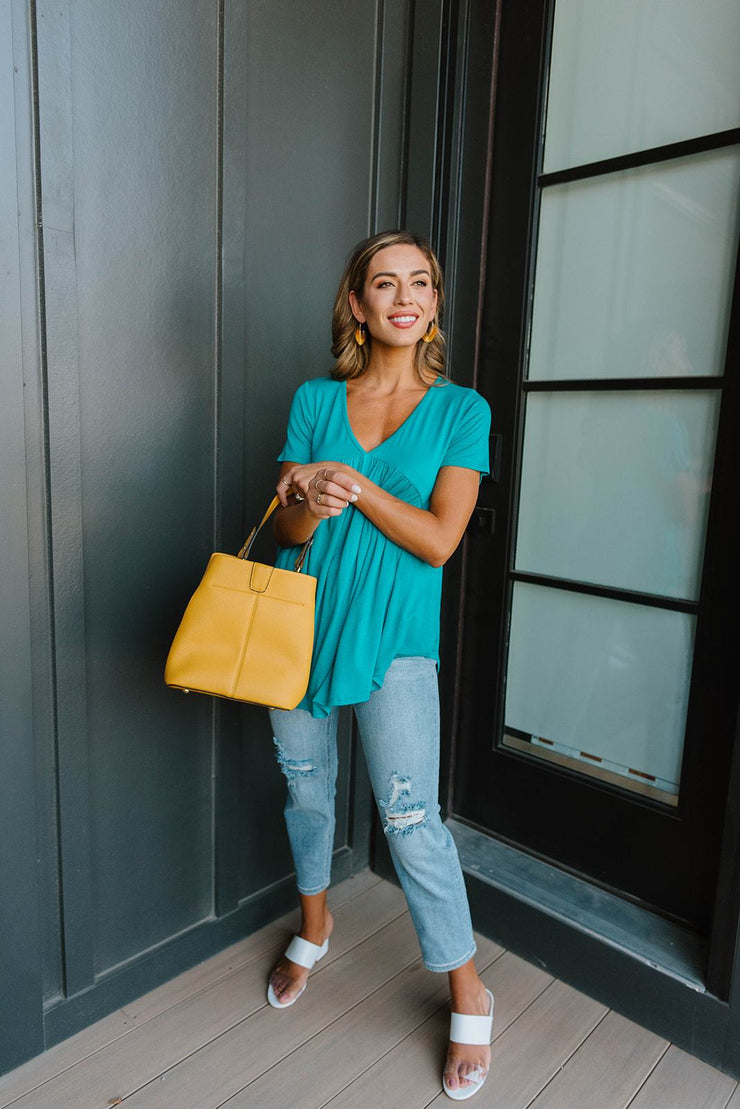 Bamboo Knit Top In Teal