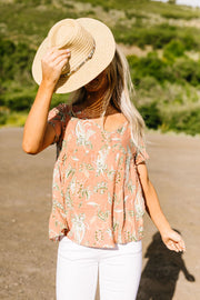 Bliss Swiss Dot Floral Top In Apricot