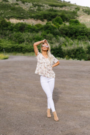 Bliss Swiss Dot Floral Top In Ivory