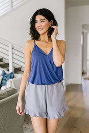 Charlize Surplice Tank In Blueberry
