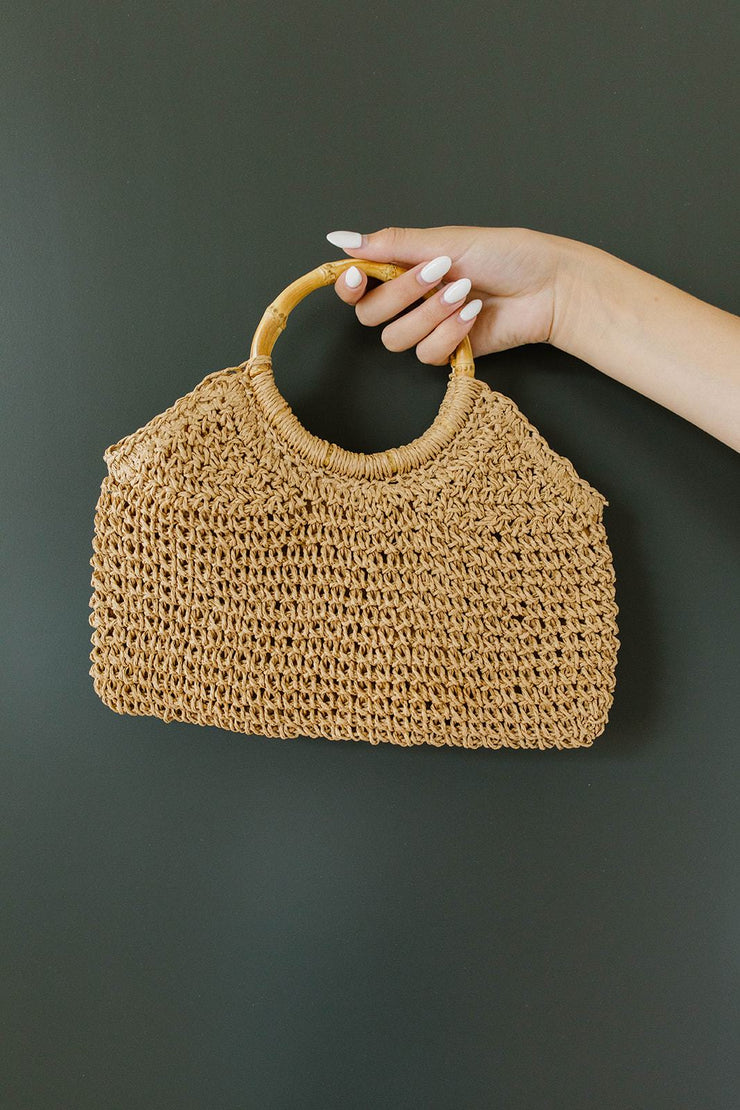Circle The Globe Bamboo Handle Bag
