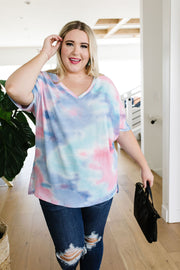 Clouds Of Blue & Pink Tie Dye Top