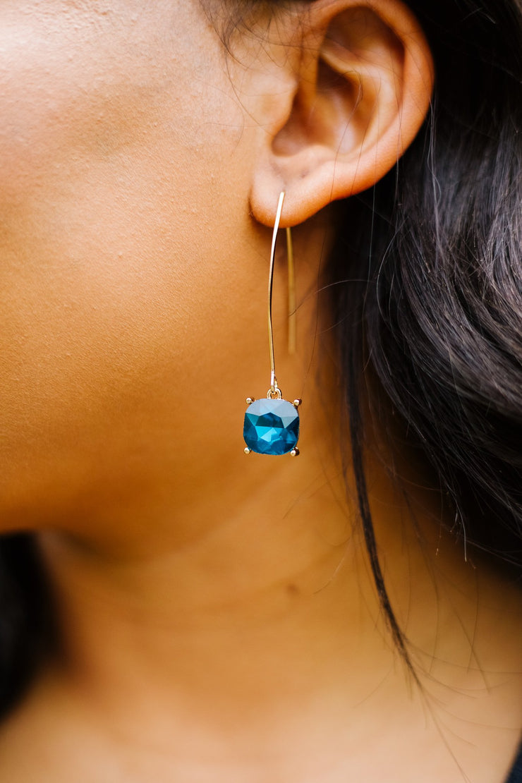 Crystal Drop Earrings In Sapphire