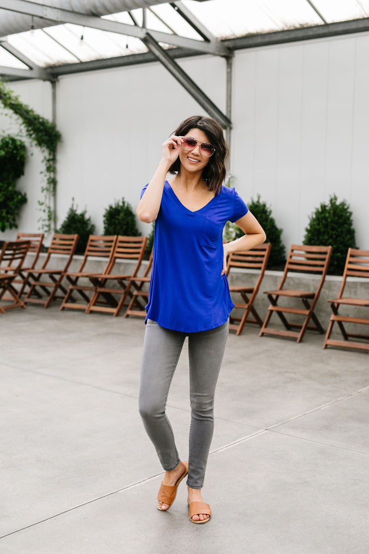 Everyday Yay V-Neck Tee In Royal Blue