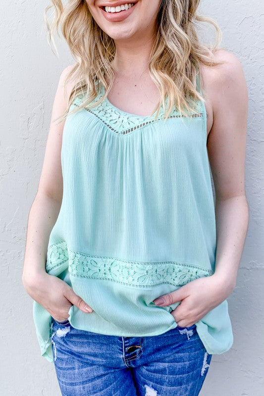 Lace Sleeveless Tank ~Mint~