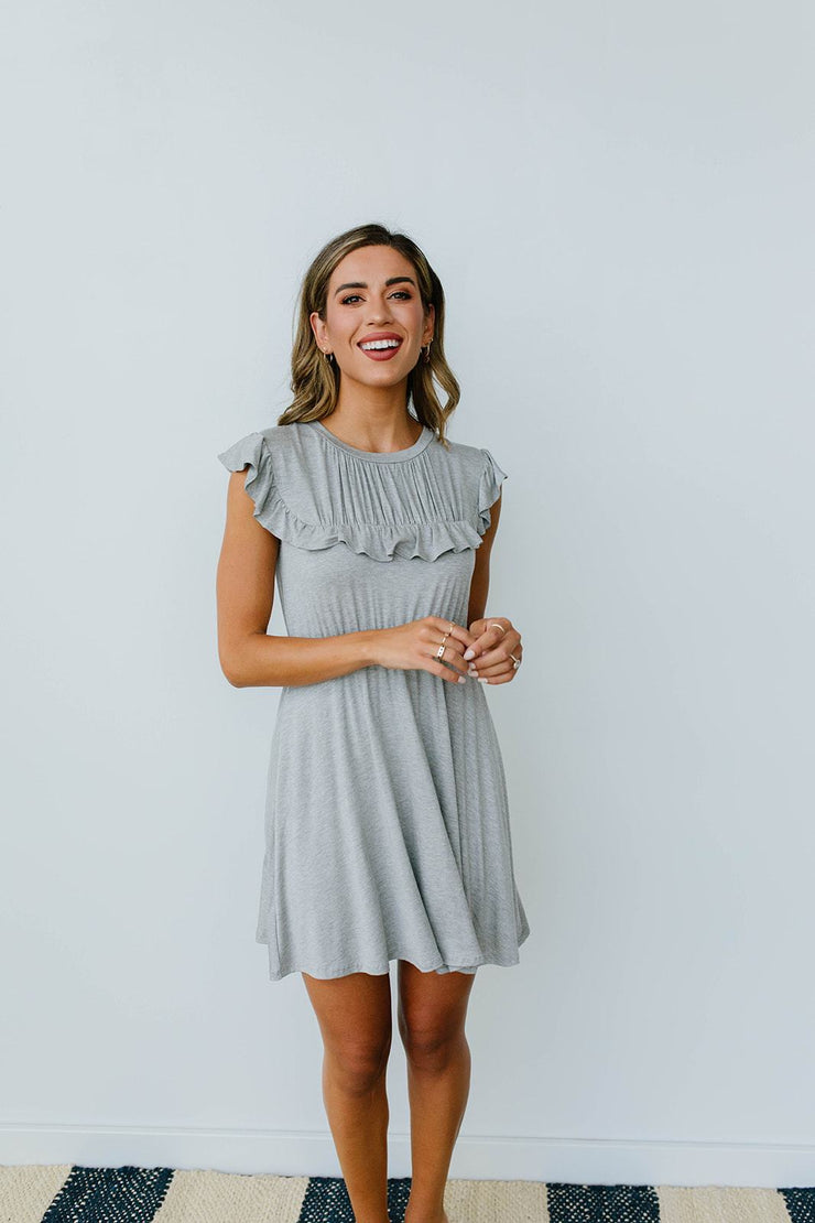 Gray Day Ruffled Yoke Dress
