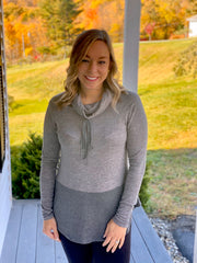 Cowl Neck Drawstring Top ~Charcoal~
