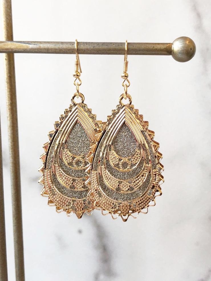 Two Tone Luxe Scalloped Dangle Earrings ~Rose Gold~