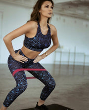 Geometric Honeycomb Print Workout Sports Bra