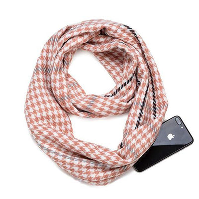 Houndstooth Hidden Pocket Infinity Scarf ~Pink  ~