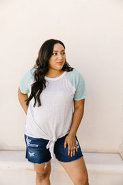 Raglan Stripes Tie Front Tee In Pale Blue