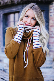 Rustic Comfort Striped Contrast Pullover