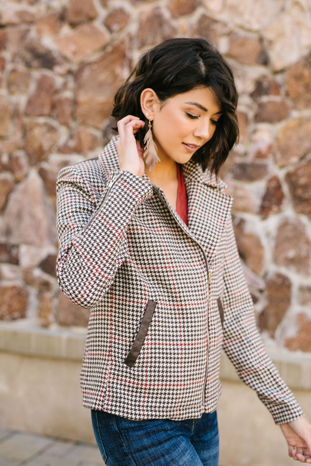 Upper Crust Houndstooth Moto Jacket