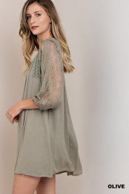 Boho Pleated Dress with Lace Sleeves