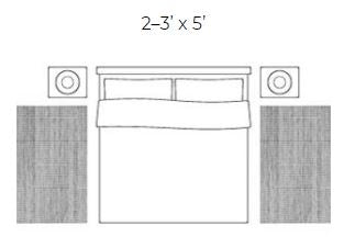 3' x 5' rug placement in bedroom rug for king size bed