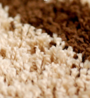 A closeup of a rug, showing the individual yarns/fibers in a rug.