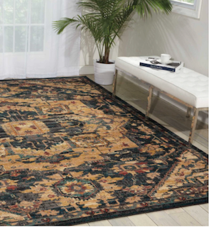 An image of a medium -pile rug in a living-room floor.