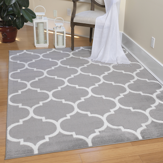 5x8 Grey and White Trellis modle style rug displayed in a living room.