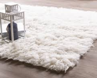 A beautiful 5x8 white shag rug sits on a hardwood floor in a home setting.
