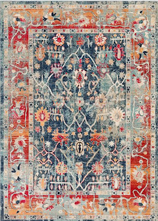 A colorful bohemian style rug is displayed.