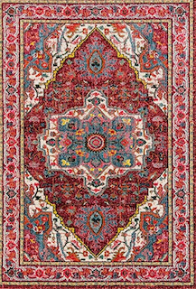 A burgundy and navy blue bohemian style rug is displayed.